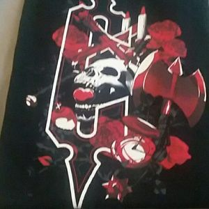 Shirts - Black graphic tee with skull roses and cross